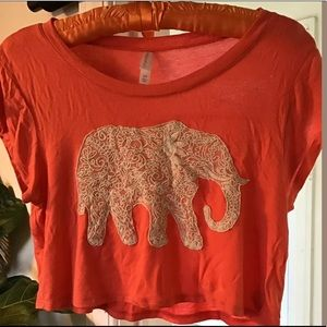 5/$32 ~ Boho Elephant Crop Top Small Lacey Hippie